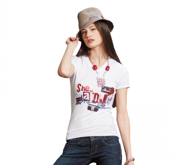 VSCT She´s a DJ V-Neck shirt white