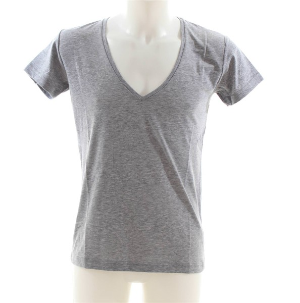 ReRock Deep V-Neck Basic T-Shirt grau