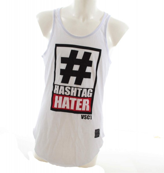 VSCT Clubwear Hashtag Hater Long Tank Top white