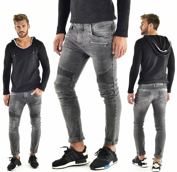 VSCT Clubwear Liam Biker Zip Pocket grey stoned Jeans