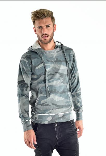 VSCT Clubwear Raw Edge Camo Hoodie Pullover petrol