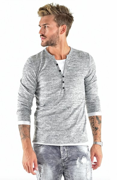 VSCT Clubwear Buttoned Double Optic Shirt grey-white