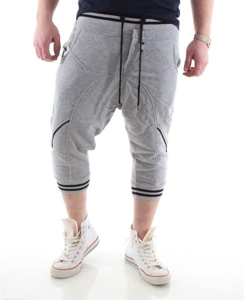 Young & Rich Drop Crotch Jogginghose Shorts grau