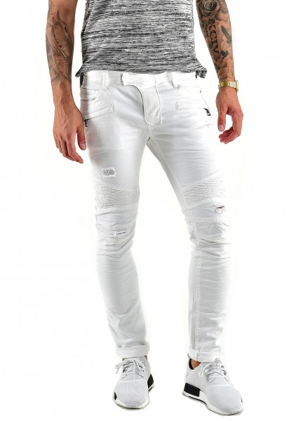 VSCT Clubwear Jeans Liam Biker Zip Pocket white