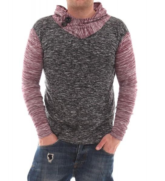 VSCT 2 Btn Hooded Moulinee Longsleeve Pullover bordeaux/indigo