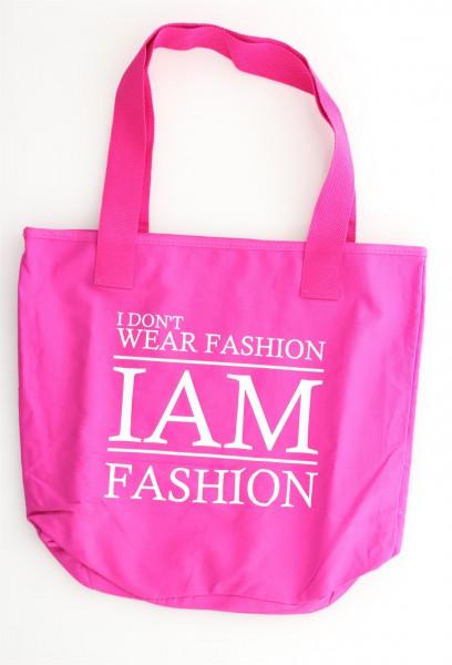 """Be Famous Shopper """"I am"""" fuchsia"""