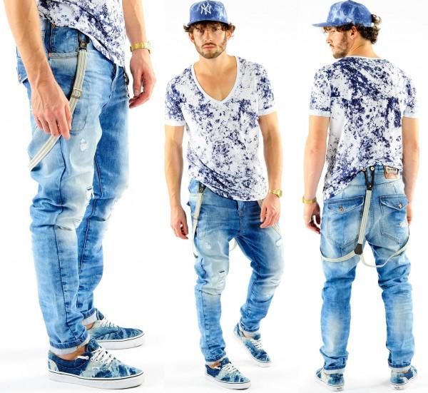 VSCT Brad Solid w. Suspenders Acid Wash Jeans