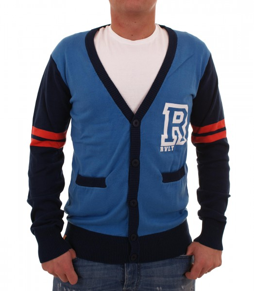 RVLT Revolution Tobey Knit Cardigan blue