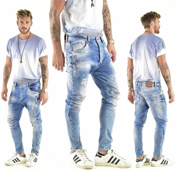 VSCT Clubwear Thor Slim 7 Pkt. Jeans with Zips lightblue