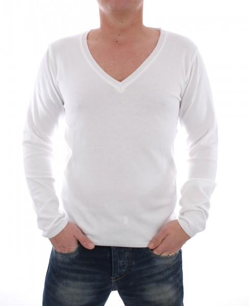 Wasabi Deep V-Neck Longsleeve white