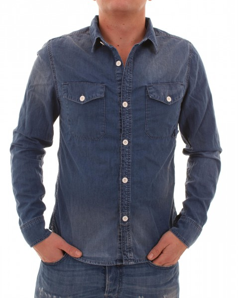 RVLT Revolution Cedric Denim Hemd darkblue