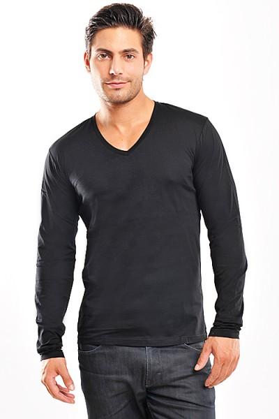 Wasabi V-Neck Basic Longshirt black