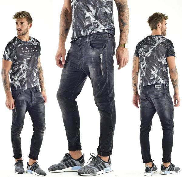VSCT Clubwear Thor Slim 7 Pkt. Jeans with Zips black
