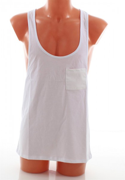 VSCT Tank Top with Leather Pocket white