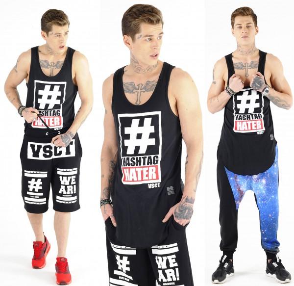 VSCT Clubwear Hashtag Hater Long Tank Top black