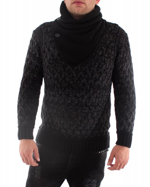 VSCT Cable Scarf Collar Pullover black
