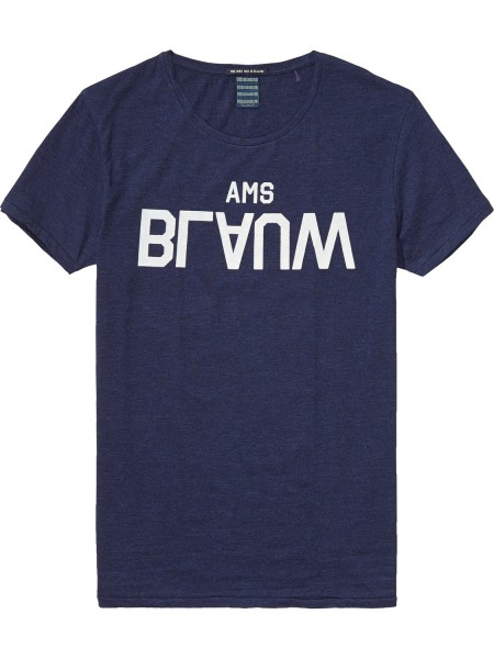 Scotch & Soda Amsterdam BlauW Brand T-Shirt with Neppy base midnight