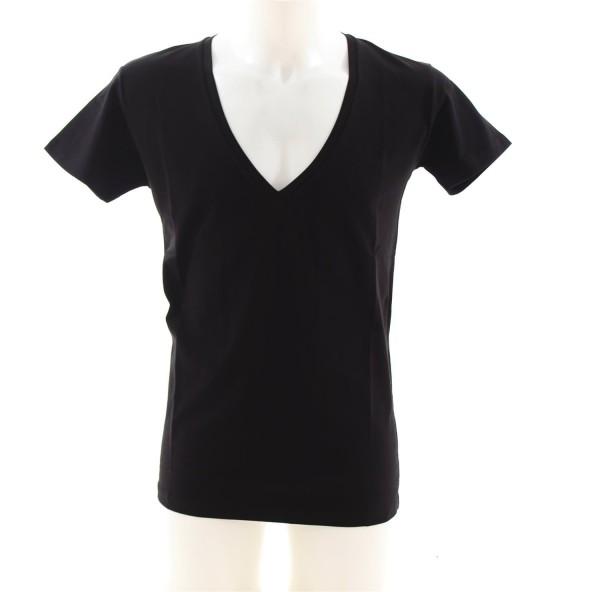 ReRock Deep V-Neck Basic T-Shirt schwarz
