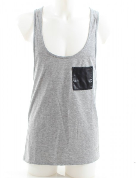 VSCT Tank Top with Leather Pocket grey