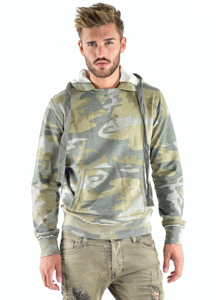 VSCT Clubwear Raw Edge Camo Hoodie Pullover