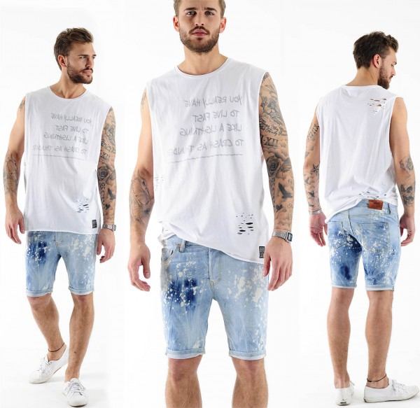 VSCT Alec Bleached Bermuda Jeans w. Turn Up Shorts