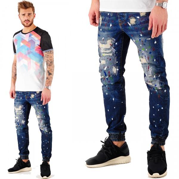 VSCT Clubwear Noah Extreme Splattered Cuffed Jeans