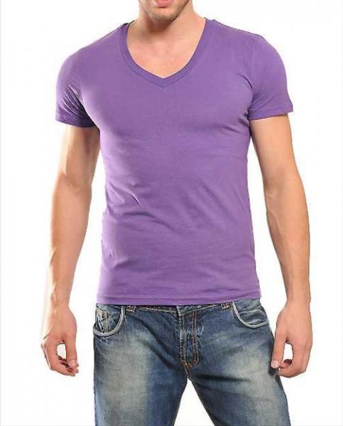 Wasabi Deep V-Neck Basic T-Shirt lilac